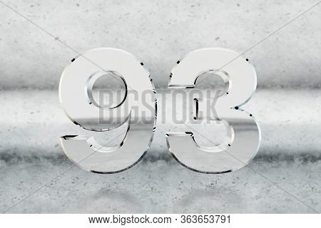Chrome 3d Number 93. Glossy Chrome Number On Scratched Metal Background. Metallic Digit With Studio