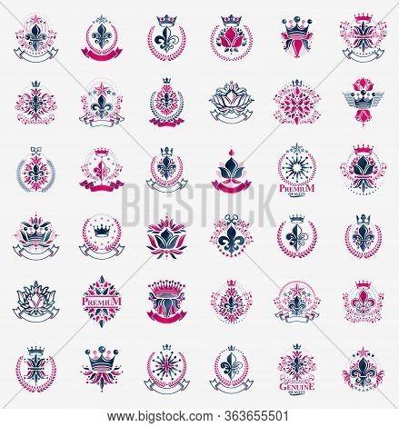 De Lis And Crowns Vintage Heraldic Emblems Vector Big Set, Antique Heraldry Symbolic Badges And Awar