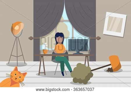 Freelancer Woman Working Online From Home. Working With Laptop At Living Room Among Mess. Stock Vect