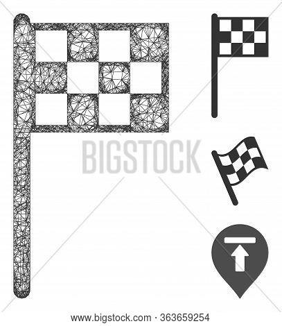Mesh Final Flag Polygonal Web Symbol Vector Illustration. Carcass Model Is Based On Final Flag Flat