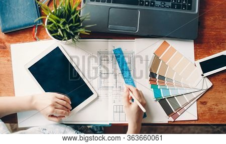 The Desktop Of The Interior Designer, The Architectural Plan Of The House, The Color Palette. Drawin