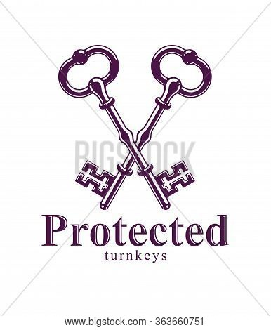 Crossed Keys, Protected Secret, Electronic Data Protection, Keys To Heaven, Hotel Label, Vintage Ant