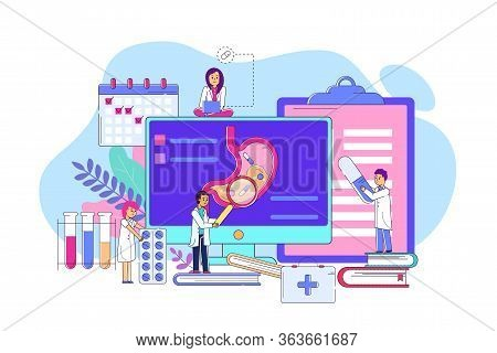 Examination Stomach On Electronic Device Concept Line Vector Illustration. Man And Woman Character I