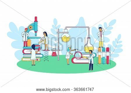 Laboratory Research Science Vector Illustration. Group Scientist Doctors Character On Enlarged Cones