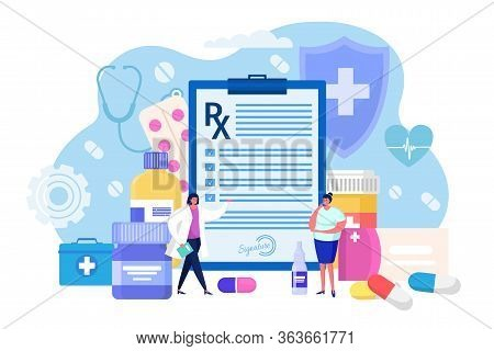 Medical Prescription For Hospital Patient, Concept Vector Illustration. Personal Doctor Write List M