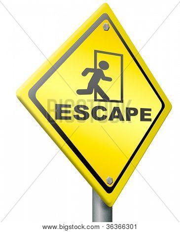 escape route, exit sign or icon