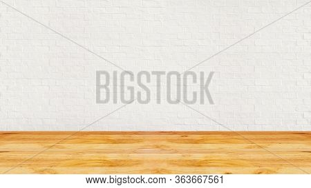 Room Interior Vintage With White Brick Wall And Wood Floor Texture For Design Artwork