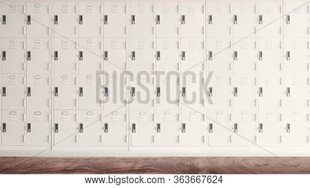 Row Of High School Lockers For Background.