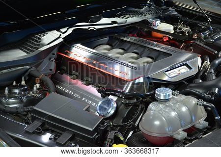 Rizal, Ph - Feb 11 - Ford Mustang Motor Engine At East Auto Moto Show On February 11, 2019 In Taytay