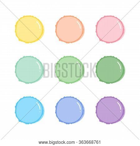 Set, Collection Of Cute Pastel Colors Macaron, Sweet French Confection.