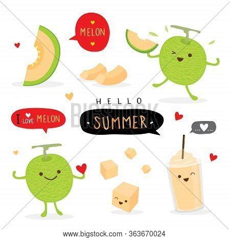 Set Of Fresh Japanese Melons, Orange Melon Or Cantaloupe Melon With Smoothie. Fruit Summer Cartoon S