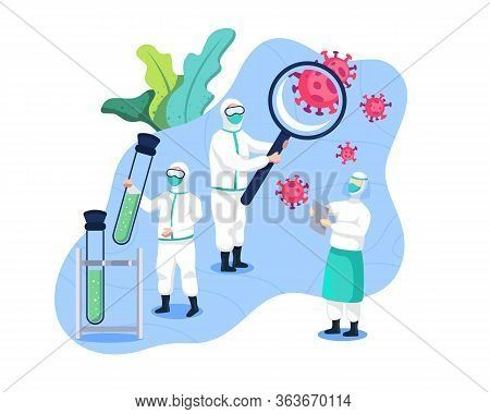 Research Of Vaccines And Cures Coronavirus. Medical Team And Scientists Research Covid 19. Scientist