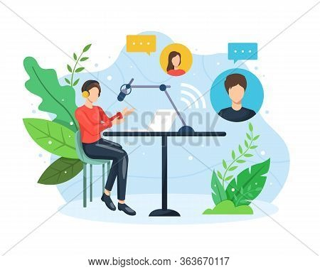 Podcast Concept Illustration. Male Radio Host Interviewing Guests On Live Stream. Podcast In Studio