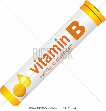 A Classic Round Pill Bottle For Immune Support Vitamin B. Vector Illustration.