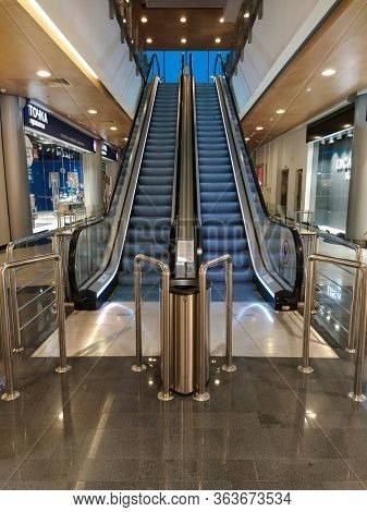 Moscow, Russia - March, 12, 2020: image of interior of a shopping center in Moscow with escalator closeup