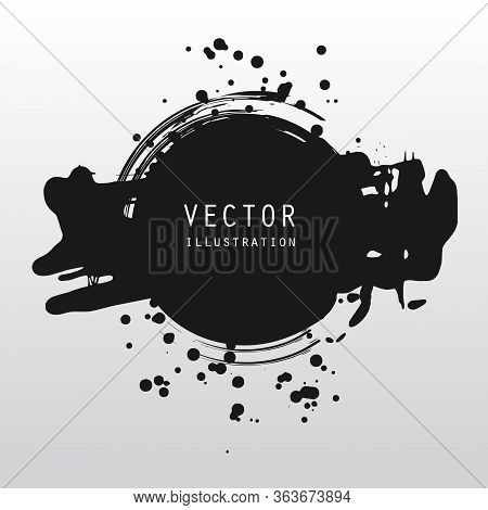 Vector Splats Splashes And Blobs Of Black Ink Paint In Different Shapes Drips