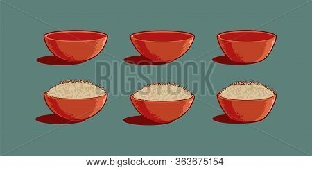 Bowls With Rice Dish, Full And Empty. Set Of Cartoon Vector Icons. Boiled Rice In Traditional Asian