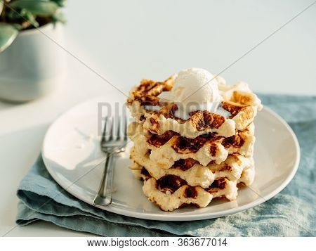 Ricotta Cheese Chaffles For Keto Diet. Stack Of Ricotta And Lemon Belgian Waffles Decorated With Ice