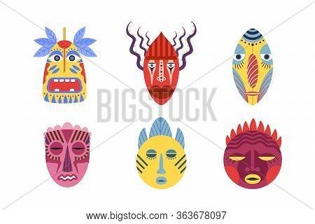 Traditional Tribal Masks Set. African, Hawaiian, Aztec Aboriginal Totems For Parades And Carnivals.