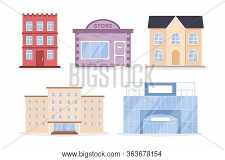 City Buildings Set. Apartment House, Store, Shopping Mall, Office Building, Block Of Flats, School.