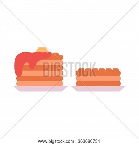 Flat Illustration Set Of Baked Waffles On A Plate Side View On A White Background. Breakfast Treat.