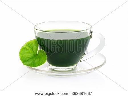Gotu Kola Juice Drink, Asiatic Pennywort, Indian Pennywort With Green Leaf Isolated On White Backgro