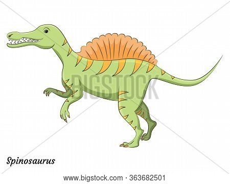 Cute Cartoon Spinosaurus Dino Character. Vector Isolated Dinosaur In Bright Colors. Illustration For