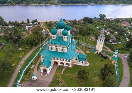 Above Old Voskresensky Cathedral On A Cloudy July Day (aerial Photography). Tutaev (romanov-borisogl