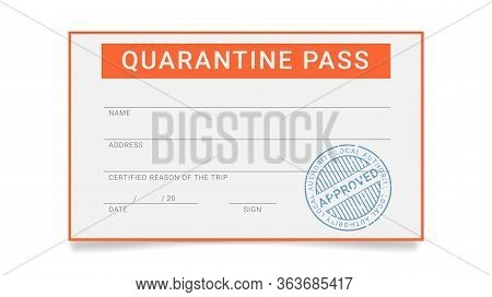 Personal Quarantine Pass. Permission Document For One Person To Go Out During The Epidemic Restricti