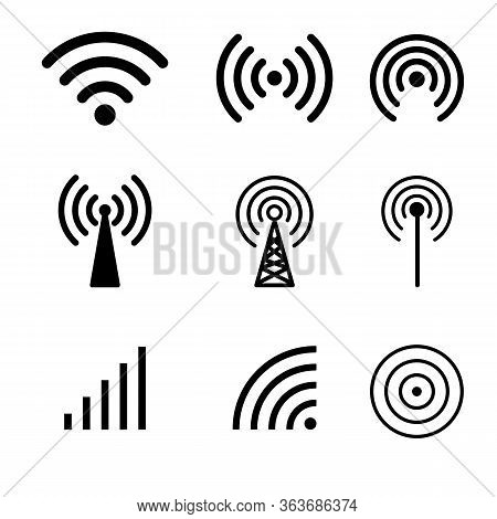 Set Of Wifi Icons. Wifi Signal Strength. Collections Of Wireless Signal And Wifi Icons. Wireless Tec