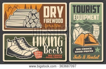 Hiking And Mountaineering Tourism, Camping Equipment Shop, Vintage Posters. Outdoor Camp Travel Item