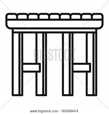 Garden Backless Chair Icon. Outline Garden Backless Chair Vector Icon For Web Design Isolated On Whi
