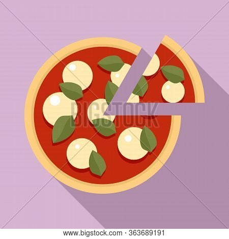 Tomato Mozzarella Pizza Icon. Flat Illustration Of Tomato Mozzarella Pizza Vector Icon For Web Desig