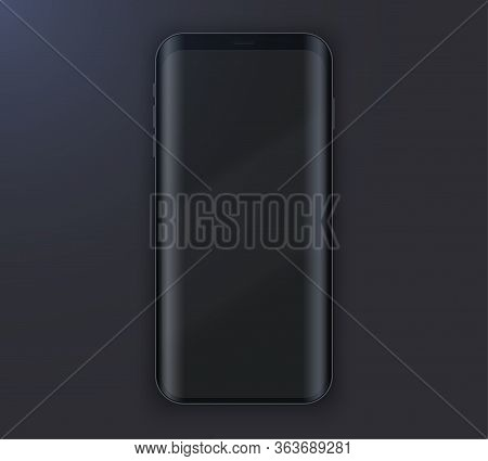 Smartphone Layout Presentation Mockup. Example Black Frameless Model Smartphone On Black Background.