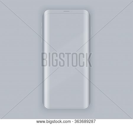 Smartphone Layout Presentation Mockup. Example Gray Frameless Model Smartphone With Touchscreen On G