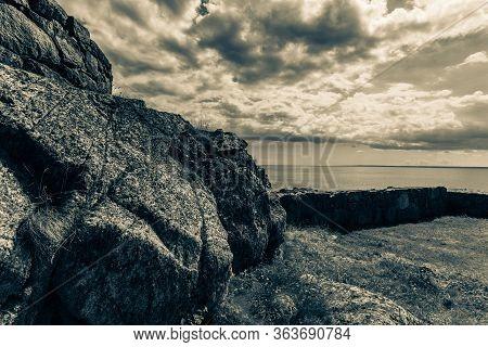 Stony Coast At Christianso Near Bornholm In The Baltic Sea Denmark Scandinavia Europe.
