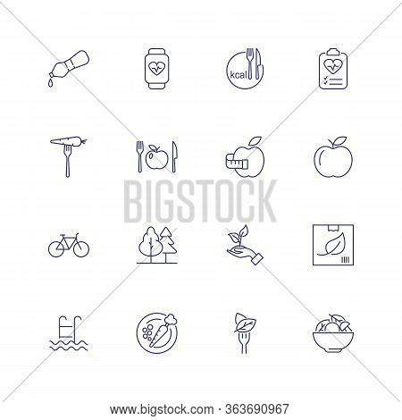 Healthy Lifestyle Icons. Set Of Line Icons On White Background. Healthy Eating, Sport Training, Weig