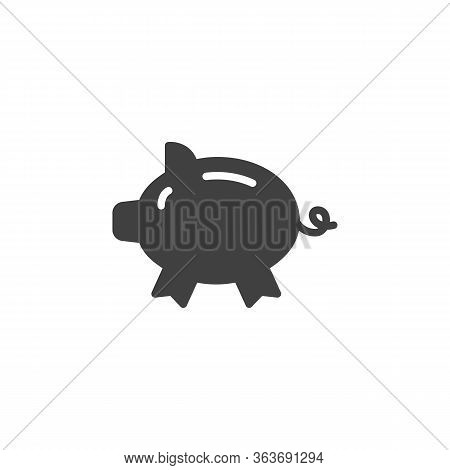 Piggy Bank Vector Icon. Filled Flat Sign For Mobile Concept And Web Design. Moneybox Glyph Icon. Sym