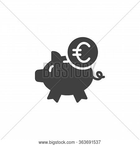 Piggy Bank And Euro Coin Vector Icon. Filled Flat Sign For Mobile Concept And Web Design. Euro Money