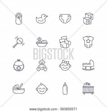 Childcare Icons. Set Of Line Icons On White Background. Baby, Diapers, Cradle. Childbirth Concept. I