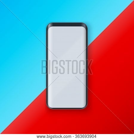 Smartphone Layout Presentation Mockup In Contemporary Style. Example Frameless Model Mobile Phone Wi