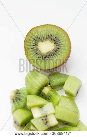 Fresh Tasty Kiwifruit Cut For Dessert Isolated On White Background. Ripe Juicy Kiwi Fruit Half And P