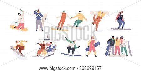Collection Of Snowboarders Isolated On White Background. Extreme Winter Mountain Activity. Set Of Pe