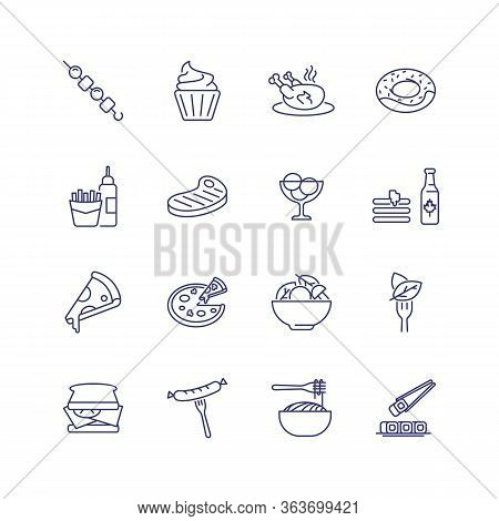 Restaurant Food Line Icon Set. Chicken, Doughnut, Sandwich. Eating Concept. Can Be Used For Topics L