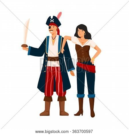 Funny Pirate Couple At Costume Party Vector Flat Illustration. Smiling Man And Woman Sea Corsairs Is