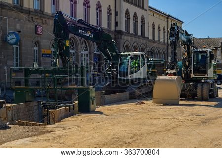 Tuebingen,germany - April 11,2020:main Station In Front Of The Old Station Building The Street Was U