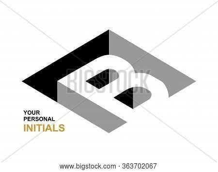 Isometric Letter B. Template For Creating Logos, Emblems, Monograms. Black And White . 3d Art Symbol