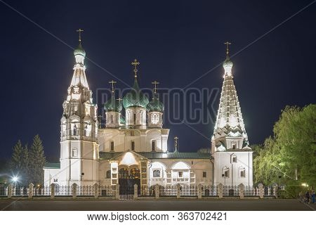 Church Of Elijah The Prophet In Yaroslavl. Night View