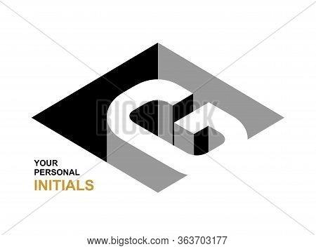 Isometric Letter G. Template For Creating Logos, Emblems, Monograms. Black And White . 3d Art Symbol