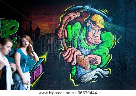 KATOWICE, POLAND - AUGUST 1: Graffiti murals by unknown artist created of the Katowice Street Art Festival, August 1, 2012 in Katowice, Poland.